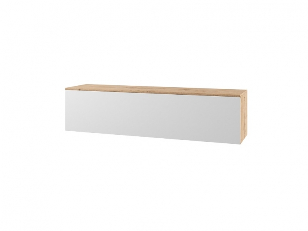 Антресоль навесная с глухим фасадом Марли МАН1400.1 дуб бунрати-белый глянец