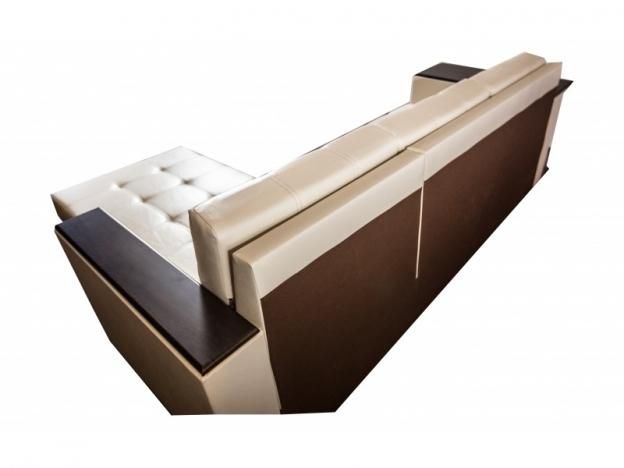 Диван угловой Суфле со столиком кожзам бежевый