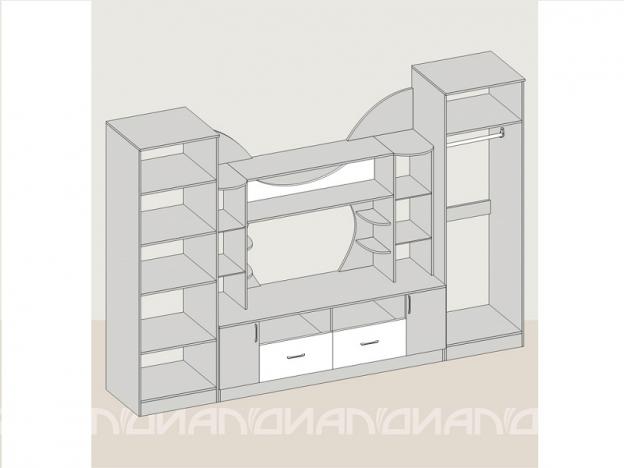 Гостиная Аллегро-5 с 2 шкафами ясень шимо темный-ясень шимо светлый