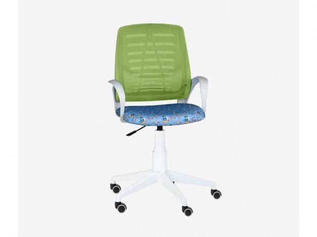 Кресло детское Ирис White сетка W салатовая-Т56 пираты на голубом
