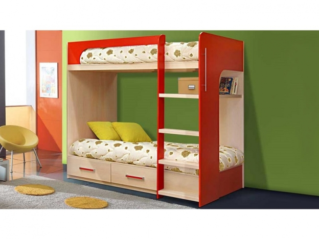 Кровать 2-х ярусная № 7 красный
