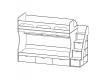 Кровать 2-х ярусная Киви № 1 с лестницей дуб молочный-лайм
