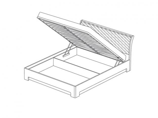 Кровать-3 1600 Парма с подъемным ортопедическим основанием ясень шимо темный-экокожа кайман темный