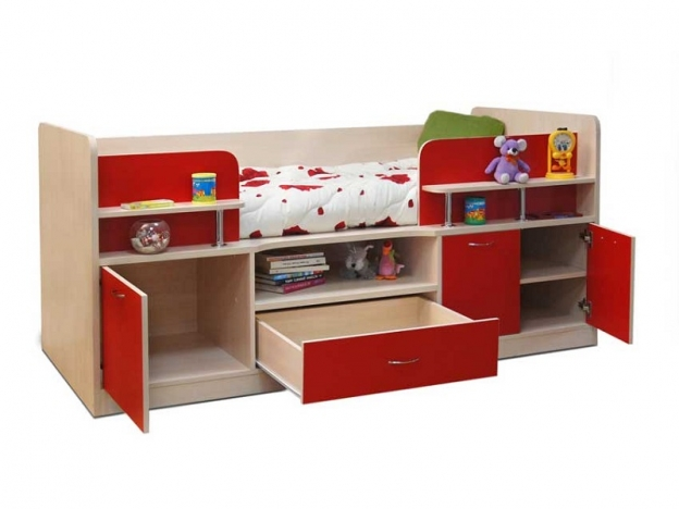 Кровать-чердак Уголок школьника № 7 красный