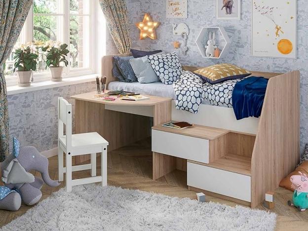 Кровать детская Алиса дуб сонома-белый