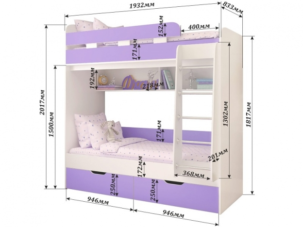 Кровать двухъярусная Юниор 5 Белое дерево-Ирис
