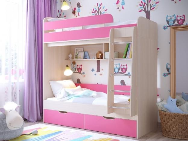 Кровать двухъярусная Юниор 5 Дуб молочный-Розовый