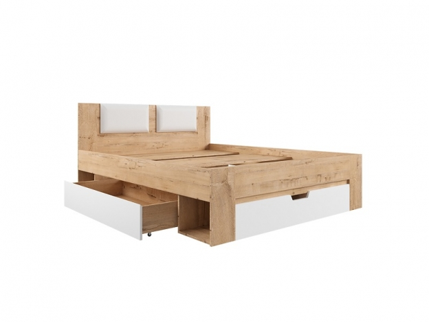 Кровать Марли МКР1600.1 Спальное место 1600х2000 дуб бунрати-белый глянец