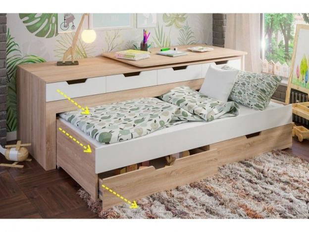 Кровать-трансформер детская Гулливер дуб сонома-белый