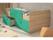 Кровать Умка с 2 ящиками и ограничителем дуб сонома-бирюза металлик