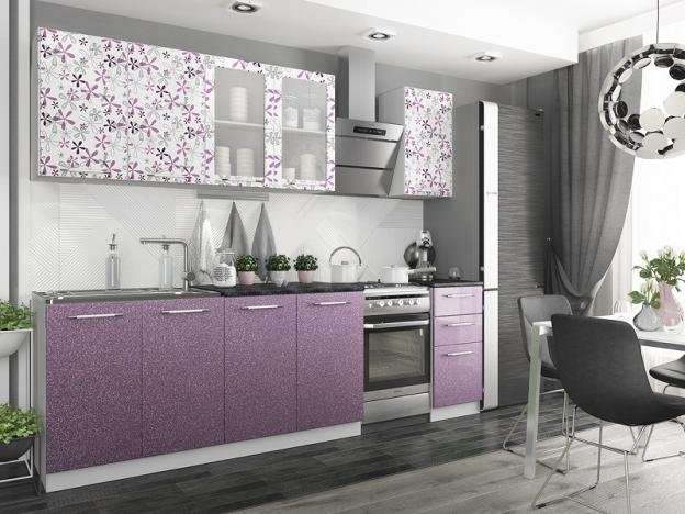 Кухня Флора 2,0 МДФ цветы-сирень