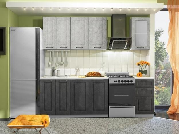 Кухня Капри 1,8 МДФ камень светлый-камень темный
