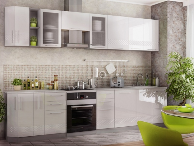 Кухня модульная Капля МДФ белый глянец