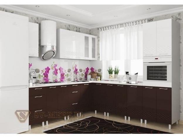 Кухня Волна Горький Шоколад Белый Глянец
