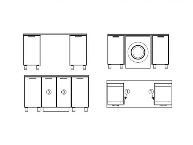 Модуль для установки стиральной машины под общую столешницу МС700 700х716х116 Волна