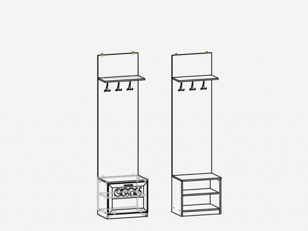 Панель комбинированная с крючками М17 Париж Ясень шимо светлый-силк-тирамису