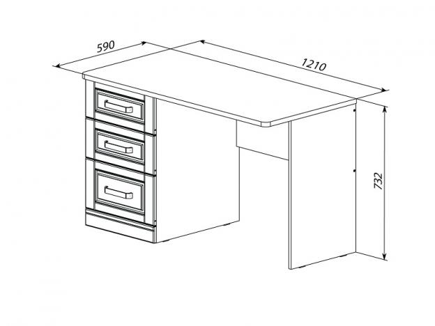 Письменный стол с 3 ящиками Прованс