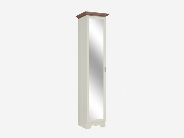 Шкаф 1-дверный с зеркалом с полками 1Z Латте Бодега светлый-орех донской