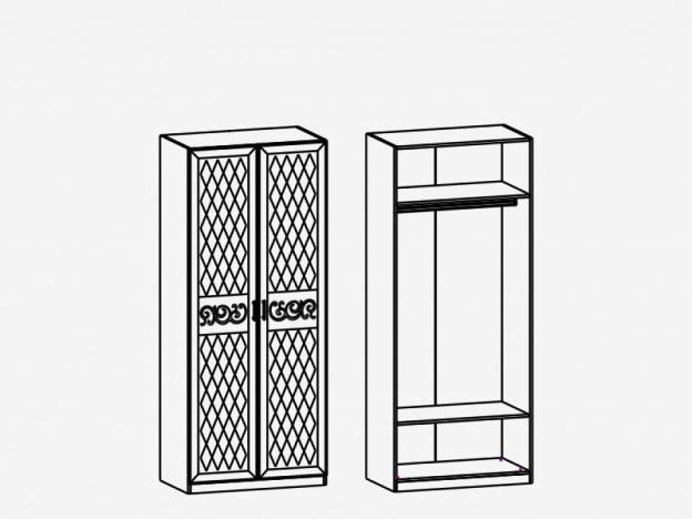 Шкаф 2-х дверный со штангой М4 Париж Ясень шимо светлый-силк-тирамису