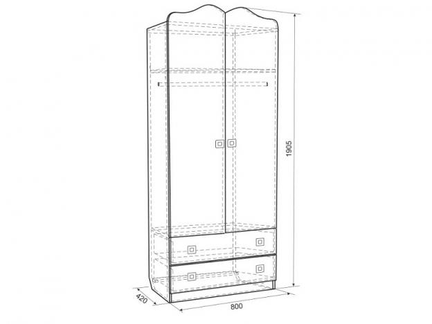Шкаф 2-х створчатый комбинированный Бонни MKB-01