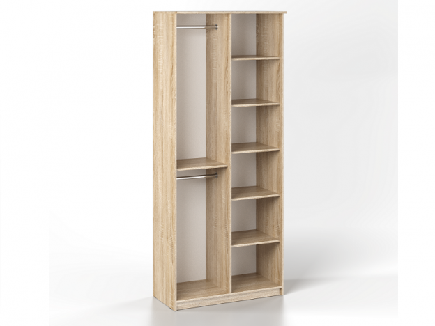 Шкаф 2-х створчатый с зеркалом Дуэт Люкс Дуб Сонома светлый