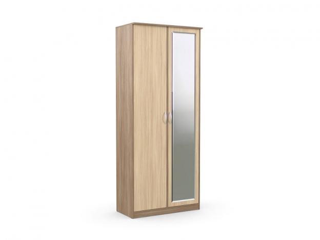 Шкаф 2-х створчатый с зеркалом Дуэт Люкс Ясень шимо темный-Ясень шимо светлый