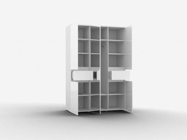 Шкаф 3-х дверный с зеркалом Alberta ШО-03 Белый Альпийский