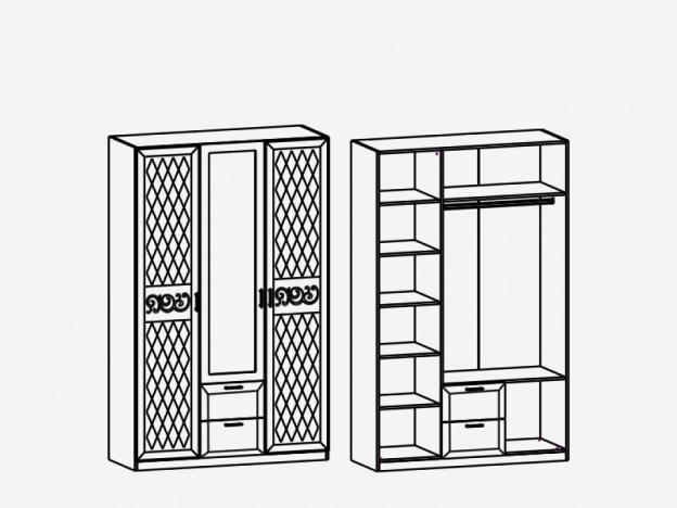 Шкаф 3-х дверный с зеркалом М2 Париж Ясень шимо светлый-силк-тирамису