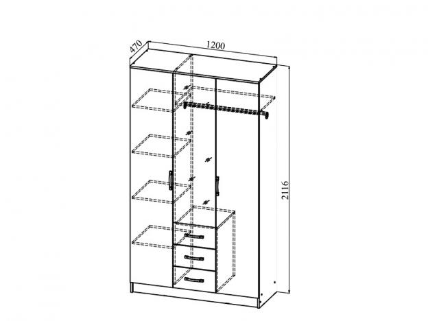 Шкаф 3х-створчатый с 3 ящиками с зеркалом Ронда ШКР 1200.2 венге-дуб белфорт