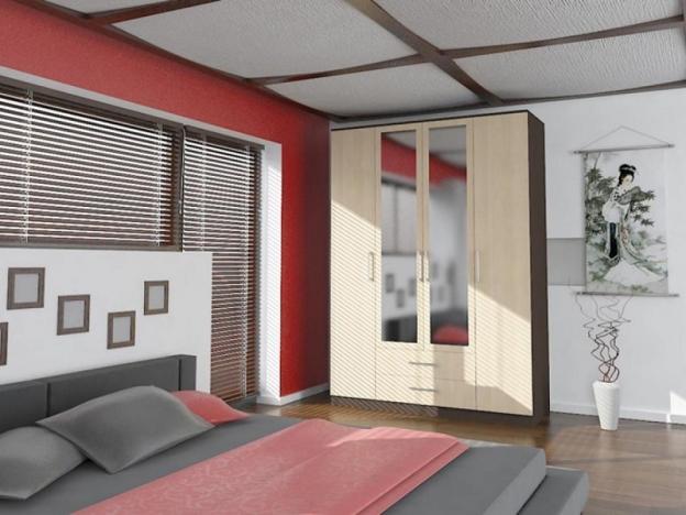 Шкаф 4-х дверный с ящиками Квадро-1 с зеркалом венге-дуб беленый
