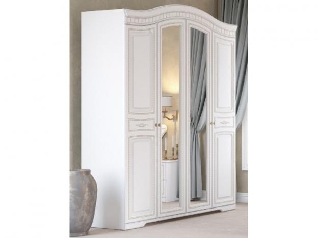 Шкаф 4-х створчатый с полками и штангой Гармония МДФ белое дерево-патина золото