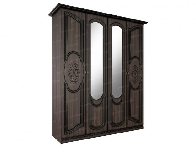Шкаф 4х-створчатый с 2 зеркалами Жасмин ясень шимо темный-текстура шамони