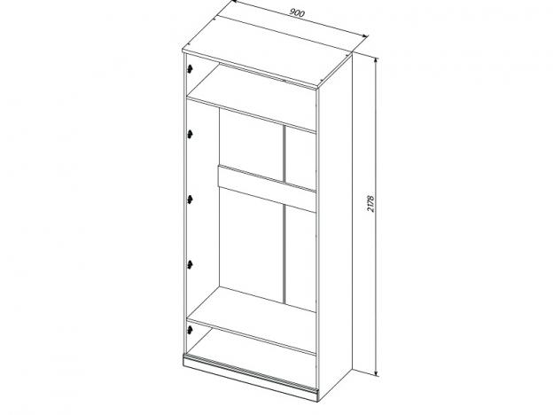 Шкаф для одежды с 1 глухой и 1 зеркальной дверями Прованс МДФ