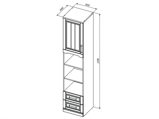 Шкаф комбинированный открытый Прованс