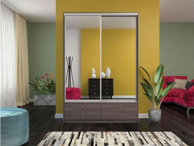 Шкаф-купе Ольга с 2 зеркалами бодега темная