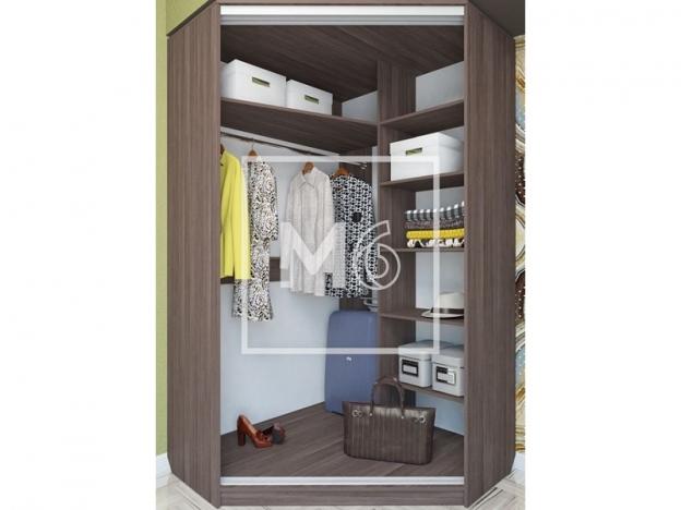 Шкаф-купе угловой Елена с двумя зеркалами Бодега темный