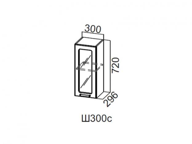 Шкаф навесной со стеклом 350 Ш350с 720х350х296мм Волна