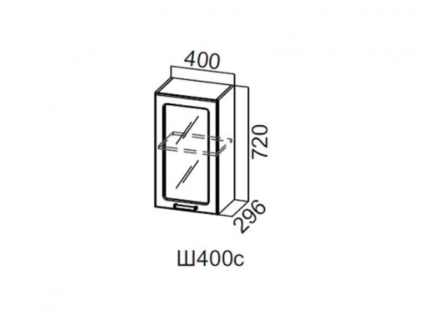 Шкаф навесной со стеклом 400 Ш400с 720х400х296мм Волна