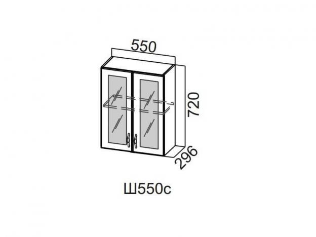 Шкаф навесной со стеклом 550 Ш550с 720х550х296мм Волна
