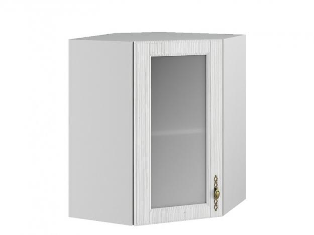Шкаф навесной угловой со стеклом ПУС 550 Империя МДФ сандал ШхВхГ 550х700х550 мм