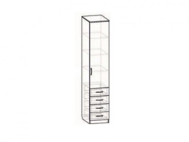 Шкаф однодверный с 4 ящиками венге-дуб беленый
