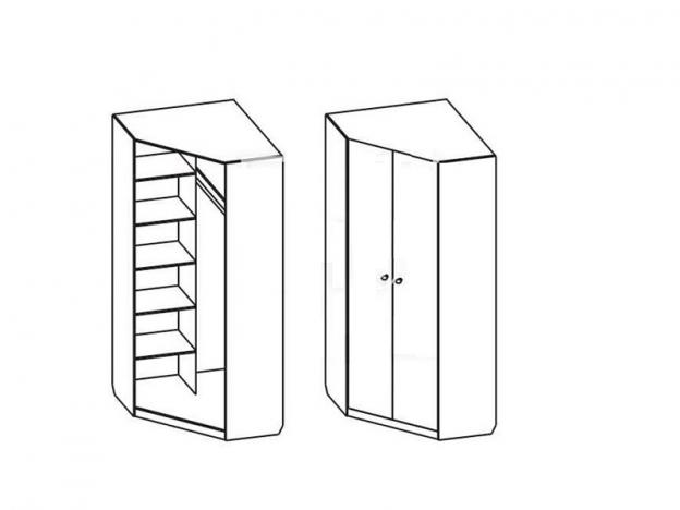 Шкаф угловой Мария с угловым элементом Белый