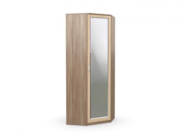 Шкаф угловой с зеркалом Дуэт Люкс Ясень шимо темный-Ясень шимо светлый