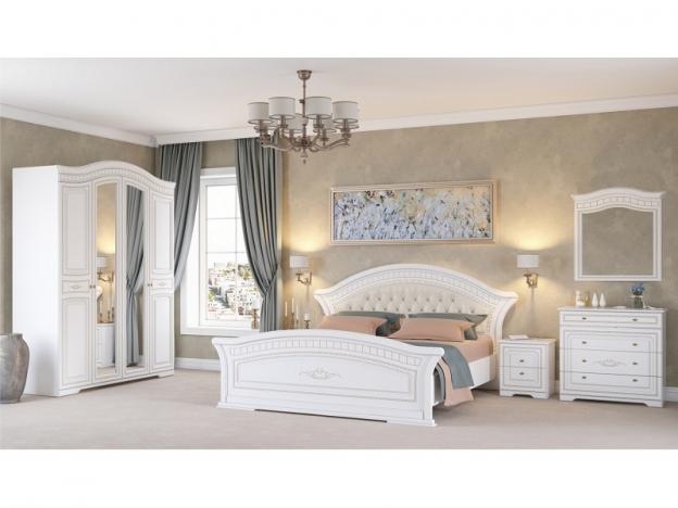 Спальня Гармония МДФ белое дерево-патина золото