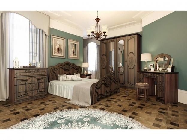 Спальня Жасмин ясень шимо темный-текстура шамони