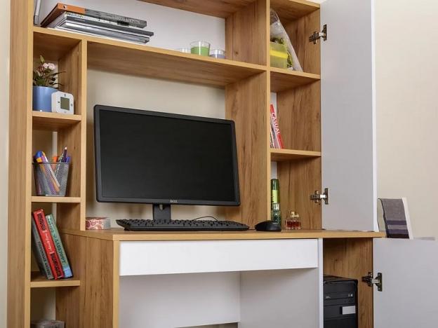 Стол компьютерный Комфорт 12.71 Дуб Крафт Золотой-Белая Аляска