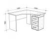 Стол компьютерный угловой Лайт-2 дуб сонома-белый