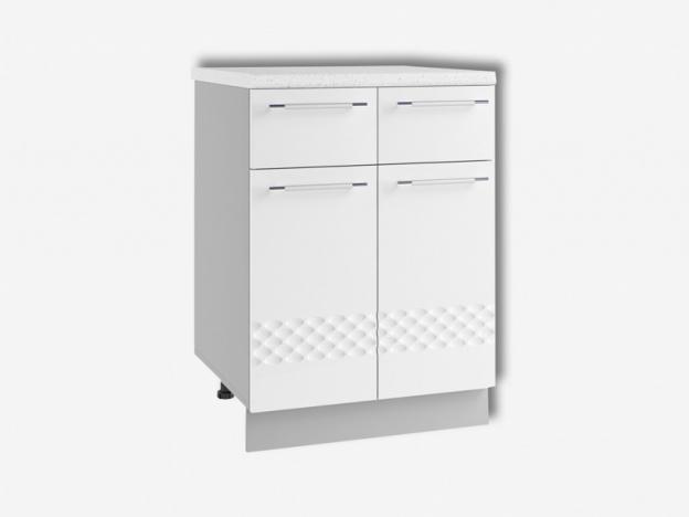 Стол рабочий с 2 ящиками и 2 дверями С2Я600 Капля МДФ белый глянец ШхВхГ 600х850х500 мм