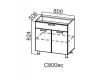 Стол-рабочий с ящиком и створками 800 С800яс 824х800х506-600мм Волна