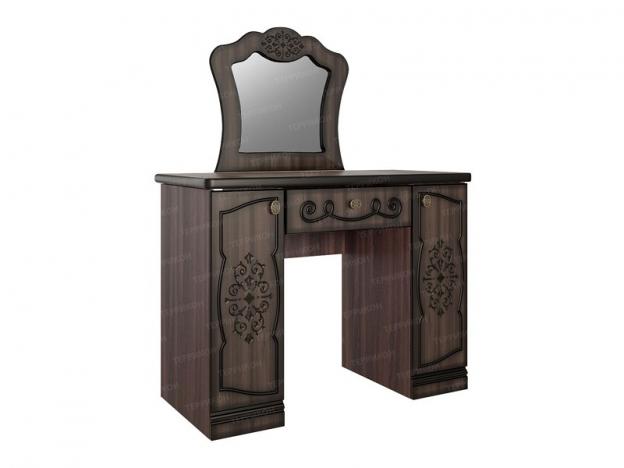 Стол туалетный с зеркалом Жасмин ясень шимо темный-текстура шамони